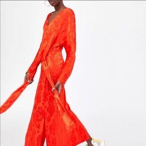 ZARA Red Jacquard Knot Dress Medium